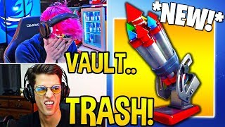 "STREAMERS 'FIRST TIME' EN UTILISANT 'NEW' ""BOTTLE ROCKETS! Moments Fortnite FUNNY"