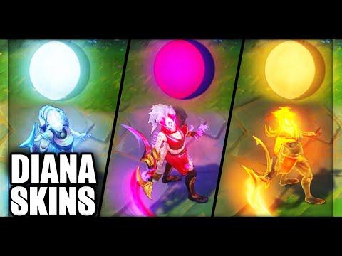 All Diana Skins Final Update Rework 2019 (League of Legends)