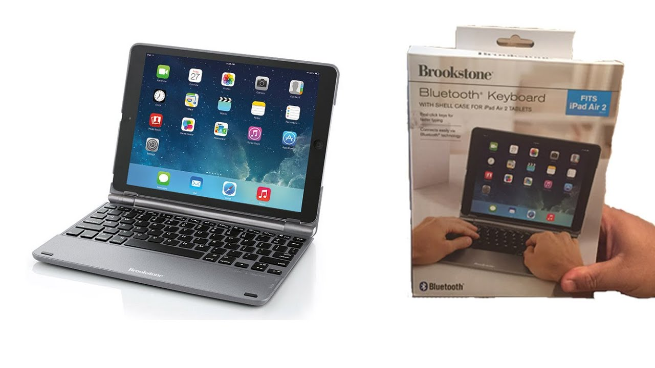 b7a12a02ea2 Brookstone Bluetooth Keyboard with Shell Case for iPad Air 2 Tablet