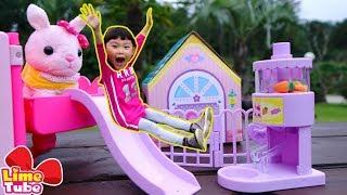 라임과 공주토끼가 놀이터로 소풍을 갔어요!  세라의 공주토끼 장난감 놀이 Playground Family Fun for Kids LimeTube & Toy 라임튜브