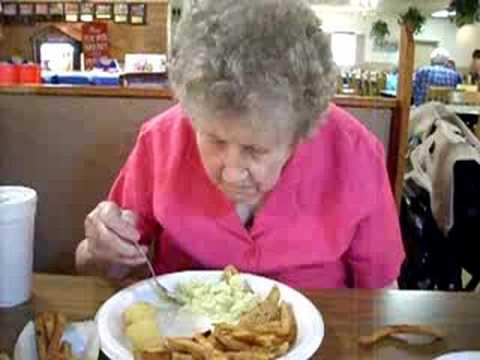 Nannie Eating At The Catawba Fish Camp