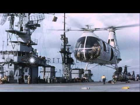 United States HUP 2 helicopter land and take off from United States ship Saipan o...HD Stock Footage