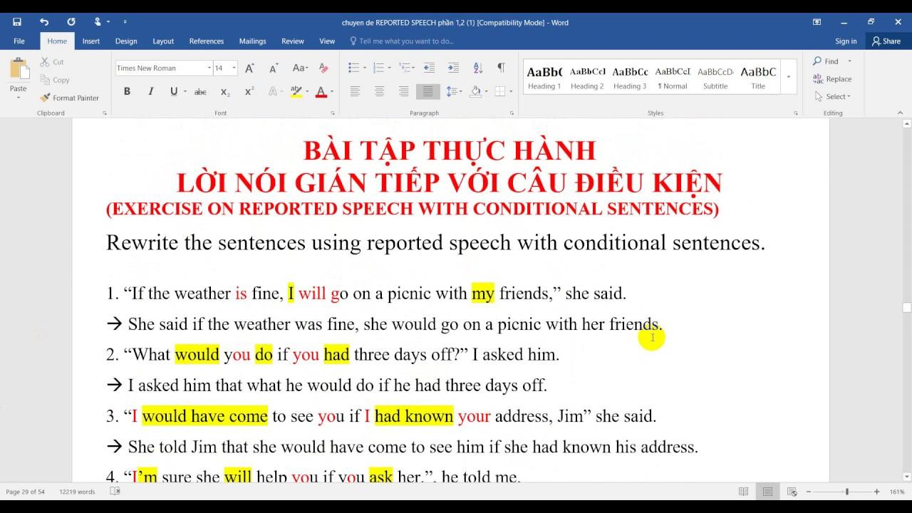 Bài tập lời nói gián tiếp  câu điều kiện/ Exercise on reported speech with conditional sentences