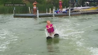 Six month old baby loves to water ski