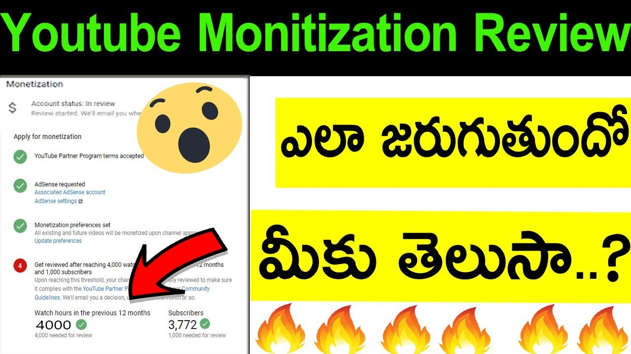 youtube monetization review process in telugu||  monetization update || monetization explained