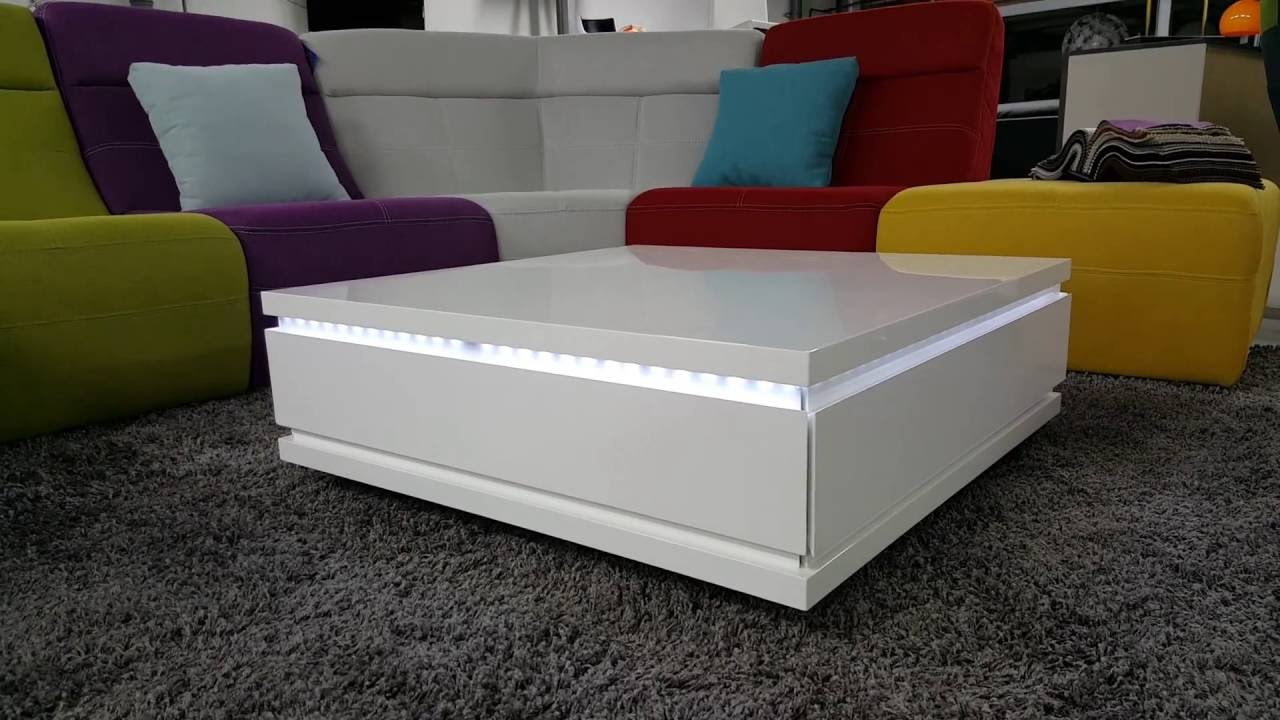 table de salon carr e blanche avec leds talgar youtube. Black Bedroom Furniture Sets. Home Design Ideas