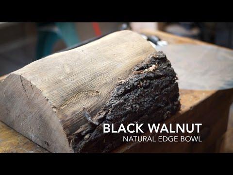 woodturning natural edge walnut bowl