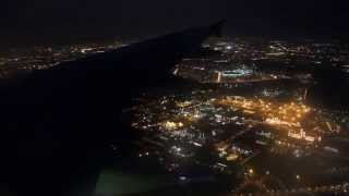 Ночная Москва. Посадка самолета