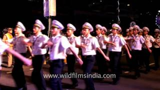 United States of America's naval band and contingent parade in India