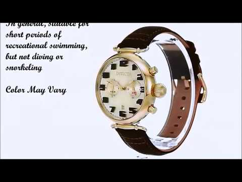 Invicta Men's Aviator 22982 Quartz Gold Tone and Leather Casual Watch