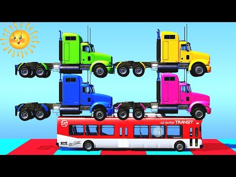 COLOR TRUCK Learn Colors and Numbers for Kids in Spiderman Cartoon for Children - Learning Video