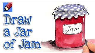 How to draw a Jar of home made Jam Real Easy