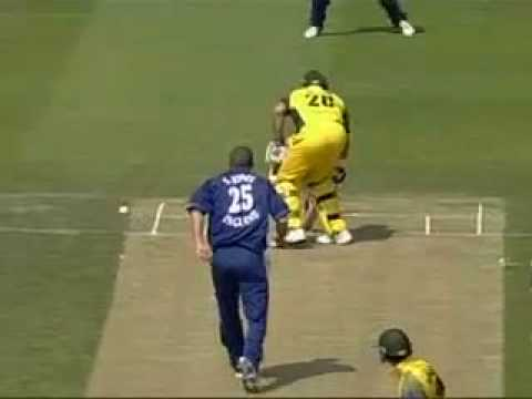 Cricket Simon Jones hits Mathew Hayden