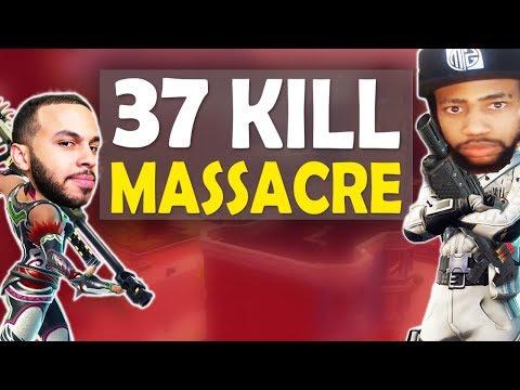 37 KILL MASSACRE VS SQUADS | INSANE FIGHTS & FUNNY GAME FT. HAMLINZ - (Fortnite Battle Royale)