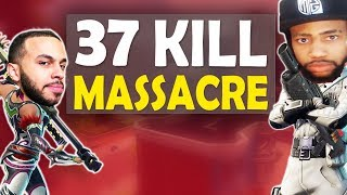 37 KILL MASSACRE VS SQUADS | INSANE FIGHTS & FUNNY GAME FT. HAMLINZ - (Fortnite Battle Royale) thumbnail