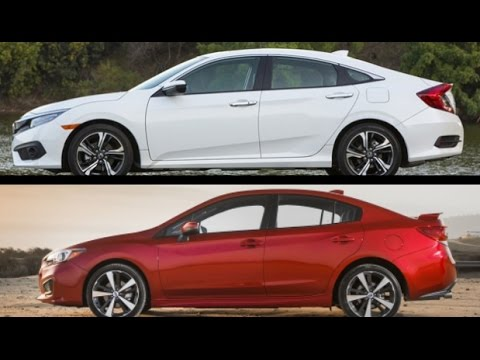2017 Subaru Impreza Sedan vs 2016 Honda Civic Sedan  YouTube