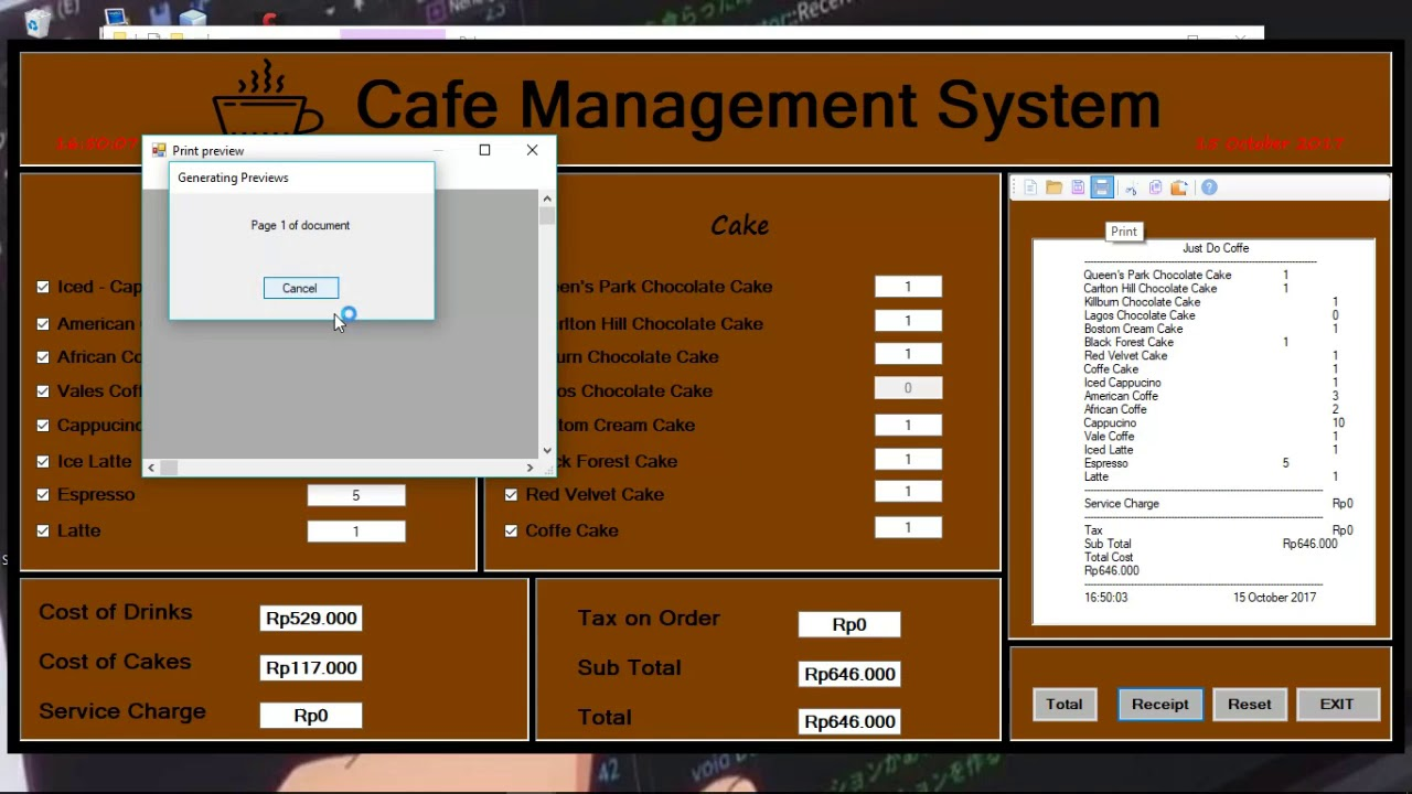 Cafe Management System vb net with source code