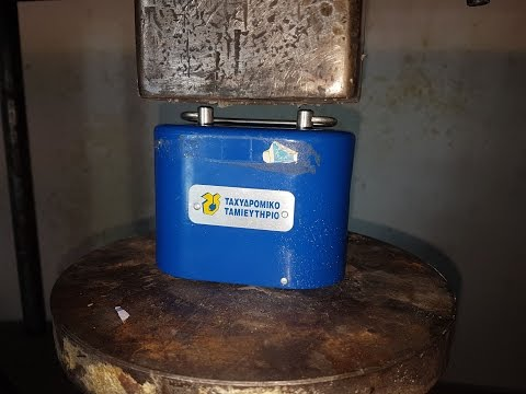 Hydraulic Press Crush Steel Money Box