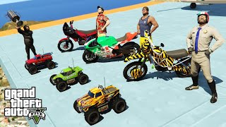 GTA V Parkour Challenge with Trevor, Franklin and Michael By Motorcycles And RC Cars