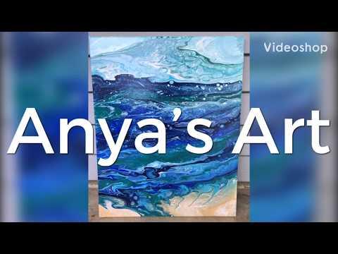 Acrylic Pouring Easy Ocean Beach Painting / Fluid Abstract Art Painting /Anya's Art/Ocean Beach