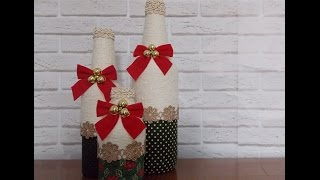 DIY Garrafas Decoradas Natal