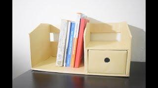 How to make bookshelf from cardboard / DIY rak buku + Laci dari kardus