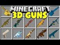 Minecraft 3D GUNS MOD | CRAFT GUNS IN MINECRAFT AND DEFEND YOUR HOUSE!!