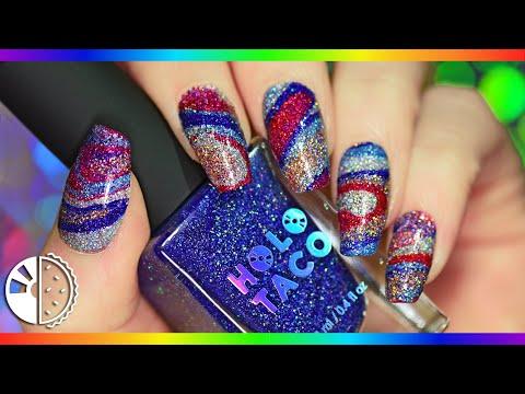Holo Glitter Marble Nail Art Tutorial (No🚫 water!) thumbnail