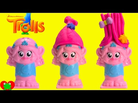 Trolls Poppy and Branch Grow Play Doh Hair and Shopkins Season 7