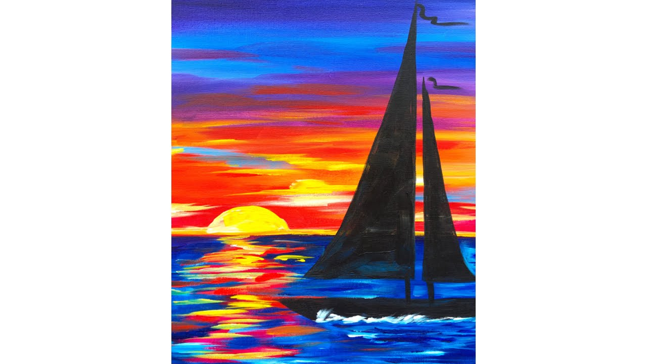 Sailboat Sunset Seascape Acrylic Painting for Beginners ...