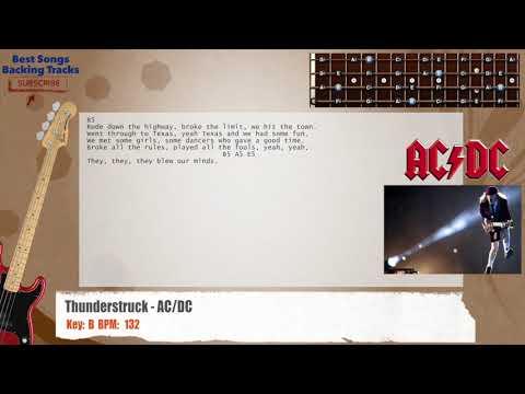 Thunderstruck - AC/DC Bass Backing Track with chords and lyrics