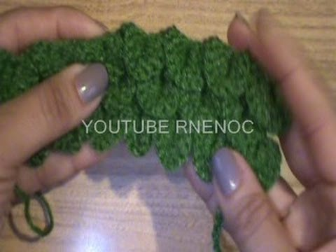 1 DE 2 COMO TEJER PUNTO ESCAMA, COCODRILO GANCHILLO CROCHET - YouTube