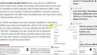 BSF Head Constable Result and Answer Key 2019 for RM RO Out @bsf.nic.in, Download BSF HC ...