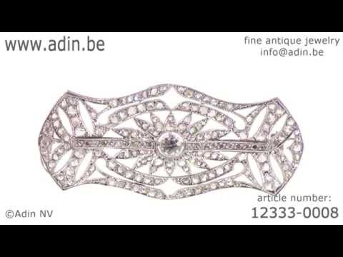 Belle Epoque Art Deco brooch set with diamonds. (Adin reference: 12333-0008)