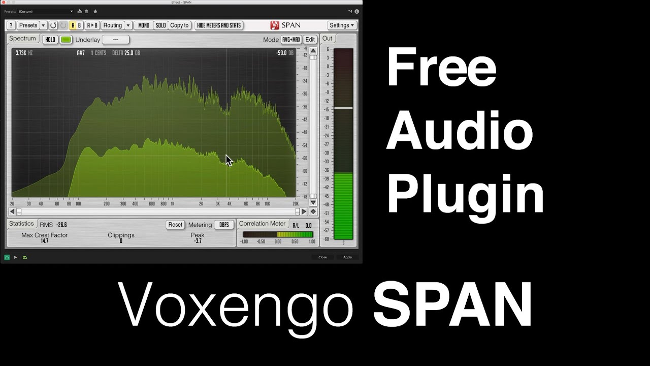Free Audio Plugin Voxengo SPAN for Post Processing Sound