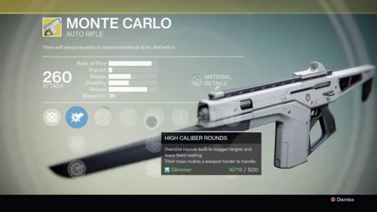 destiny exotic weapon monte carlo youtube