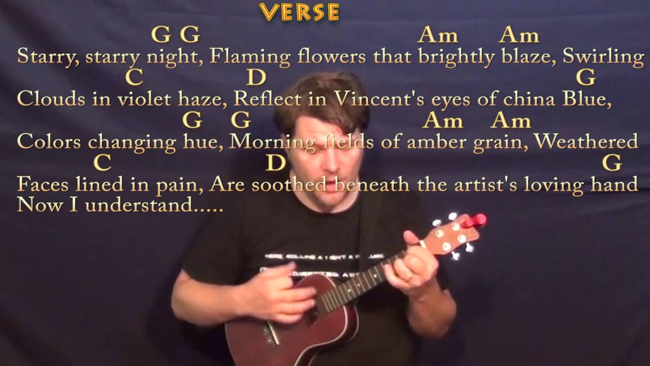 Vincent Starry Starry Night Don Mclean Ukulele Cover Lesson With