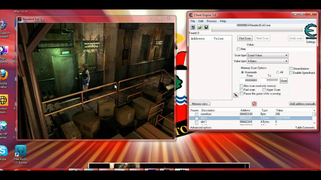 Resident Evil 3 Cheat Engine Infinite Health Youtube