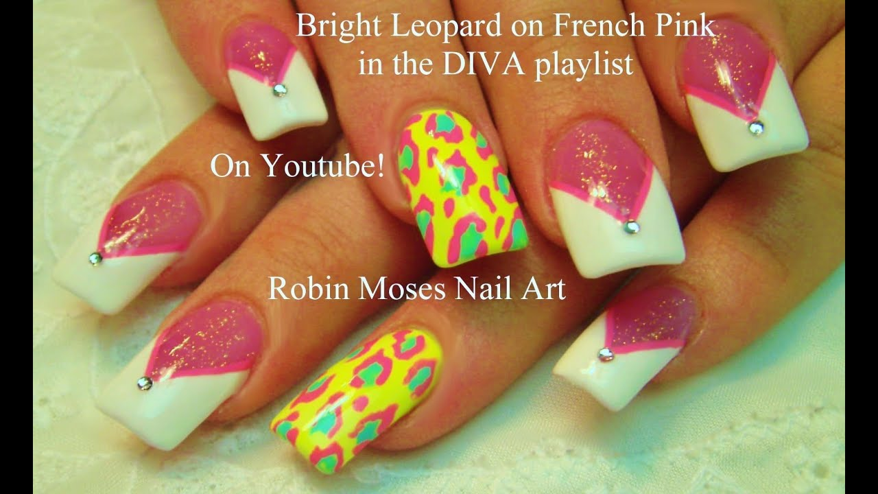 Pink and White French Tip Nail Art Design | Yellow Animal Print ...