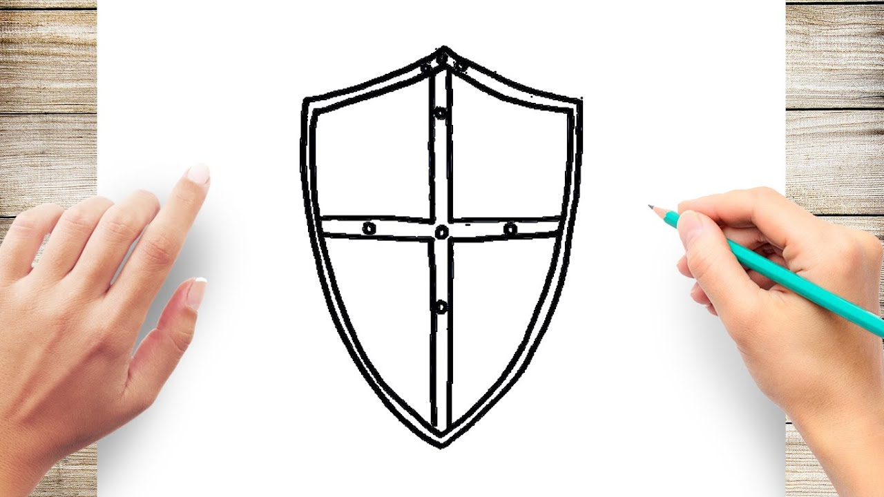 How To Draw A Shield Step By Step For Kids