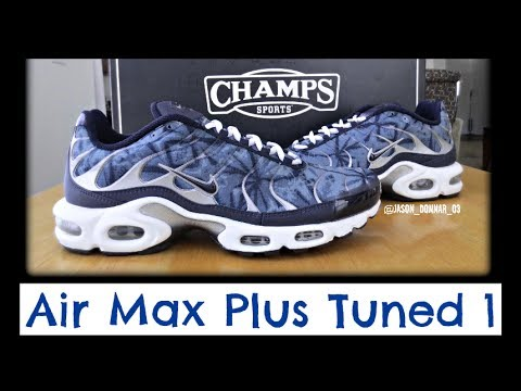 buy popular 6fdf6 2f05c Nike Air Max Plus Tuned 1 - Sneaker Unboxing from Champs Sports! Metallic  Navy Camo