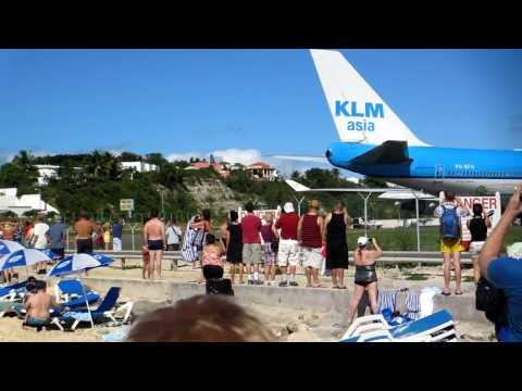 KLM 747 taking off from Princess Juliana Airport, St Maarten, causing carnage!