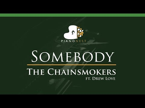 The Chainsmokers - Somebody ft. Drew Love - LOWER Key (Piano Karaoke / Sing Along)