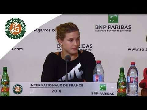 Press conference Eugenie Bouchard 2014 French Open QF