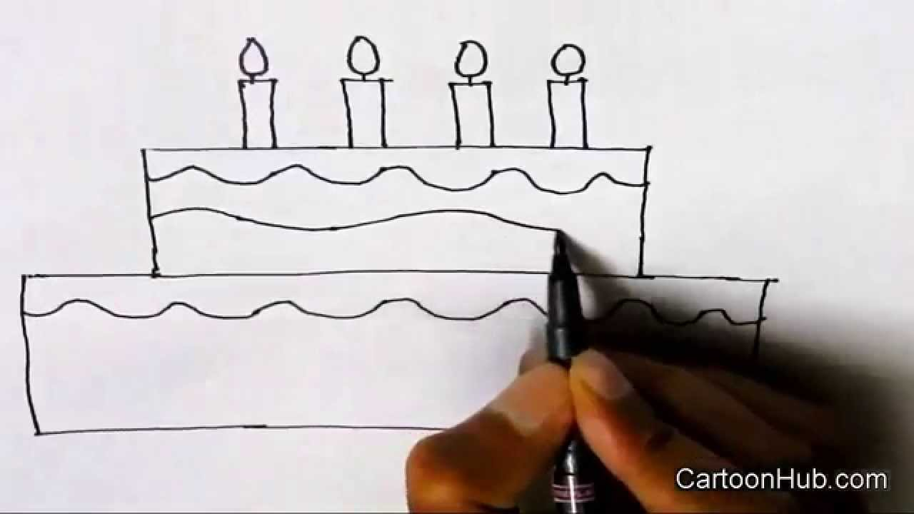 How to draw a 2D Birthday cake step by step for kids children ... for Drawing Cake Step Step  183qdu