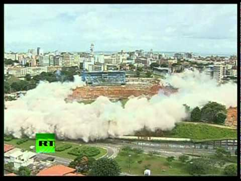 Controlled demolition: Video of stadium torn down in Brazil