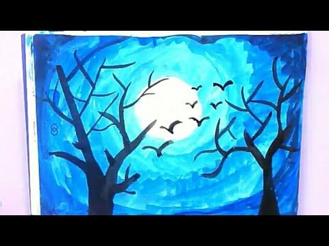 رسم منظر طبيعي وضوء القمر بالالوان المائيه رسم سهل جدا للاطفال