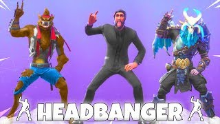 New! LEAKED HEADBANGER Emote 🤘 Showcase on LEGENDARY SKINS! Fortnite Battle Royale