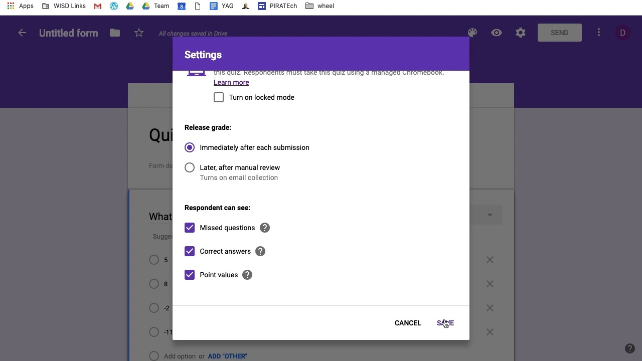 Google Forms: Quiz Settings and Answer Key - YouTube