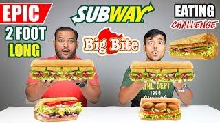 EPIC SUBWAY SANDWICH BIG BITE EATING CHALLENGE   Sandwich Eating Competition   Food Challenge